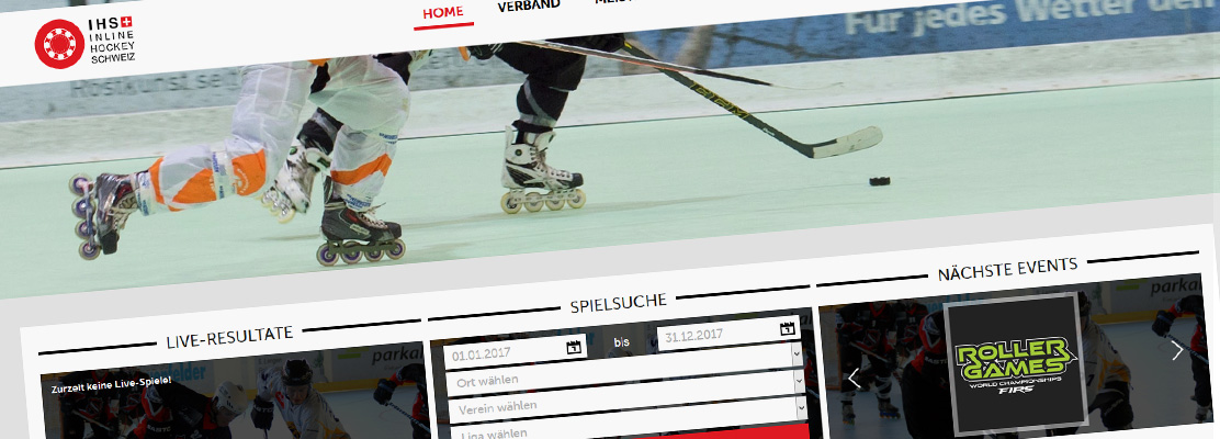 Redesign Website IHS – Inline Hockey Schweiz